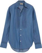 Burberry Bib-front Cotton-chambray Shirt - Dark denim