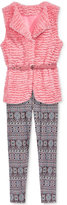 Beautees 2-Pc. Faux-Fur Vest & Leggings Set, Big Girls (7-16)