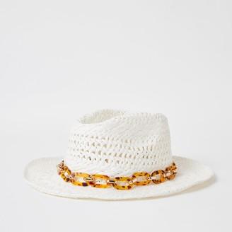 River Island Girls White tortoiseshell chain stetson hat