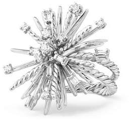 David Yurman Supernova Mixed-Cut Diamond Spray Ring in 18K White Gold, Size 6