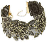 Thalia Sodi Gold-Tone Jet Lace Flower Choker Necklace, Created for Macy's
