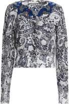 Marc Jacobs Sequin-Embellished Distressed Metallic Jacquard-Knit Cardigan