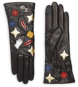 abd54b4f576 Women's Patch Cashmere-Lined Leather Gloves