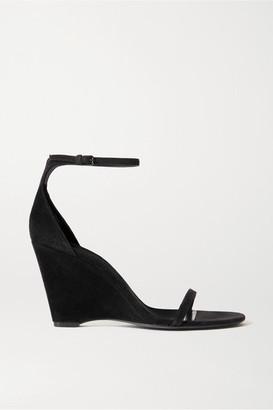 Saint Laurent Bianca Suede Wedge Sandals - Black