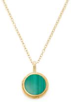 Malachite Double-Sided Circle Pendant Necklace