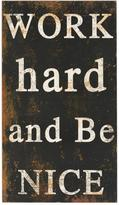 """Home Decorators Collection 27.5 in. H x 15.5 in. W """"Work Hard and Be Nice"""" Wall Art"""