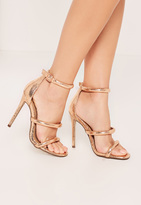 Missguided Rose Gold Rounded Three Strap Barely There Sandals