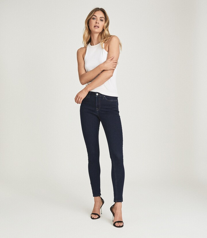 Reiss Lux - Mid Rise Skinny Jeans in Indigo