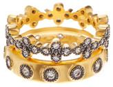 Freida Rothman Two-Tone Mixed Clover Ring Set