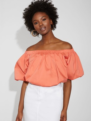 New York & Co. Poplin Off-The-Shoulder Top - Gabrielle Union Collection