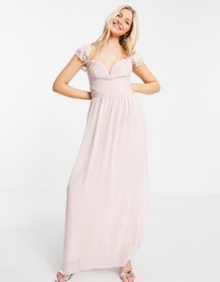 Little Mistress embellished flutter sleeve twist waist maxi dress in blush