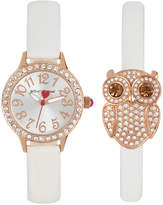 Betsey Johnson Women's White Imitation Leather Strap Watch & Bracelet Set 30mm BJ00536-38