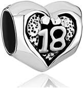 Lucky Brand LuckyJewelry Sterling Silver 18 Birthday Gift Heart Charms Bead Fit Bracelet