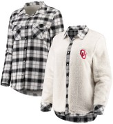 Unbranded Women's White/Cream Oklahoma Sooners Reversible Sherpa Flannel Long Sleeve Button-Up Shirt