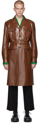 Prada Brown Leather Long Jacket