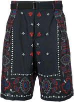 Sacai paisley belted shorts