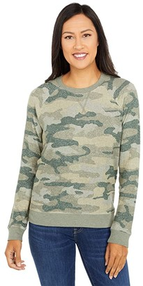 Lucky Brand Cloud Jersey Camo Crew Pullover (Green Multi) Women's Clothing