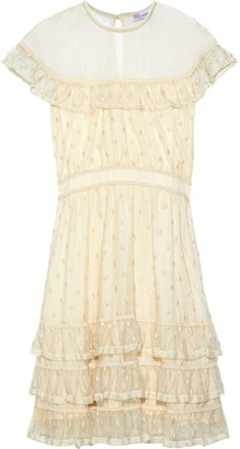 RED Valentino Tiered Tulle-paneled Point D'esprit Dress