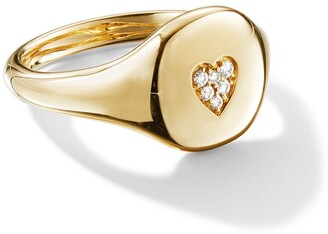 David Yurman 18kt yellow gold Cable Collectibles diamond heart mini pinky ring