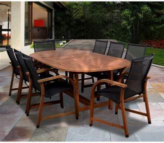 Amazonia Gables 9-Piece Wood/Sling Extendable Oval Patio Dining Furniture Set