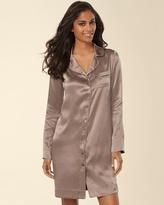 Soma Intimates Silk Long Sleeve Notch Collar Sleepshirt Mochaccino