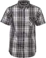 Kangaroo Poo Mens Yarn Dyed Checked Short Sleeve Shirt Black/Grey
