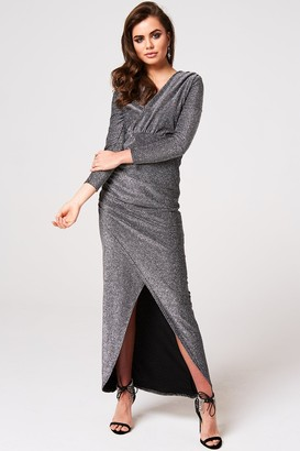 Girls on Film Brooklyn Black Lurex Plunge Maxi Dress