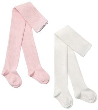 Marquise 2 Pack Dots + Plain Knitted Tights Pink 2-3