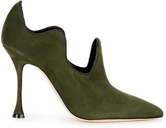 Manolo Blahnik Zhibar 105 green suede ankle boots