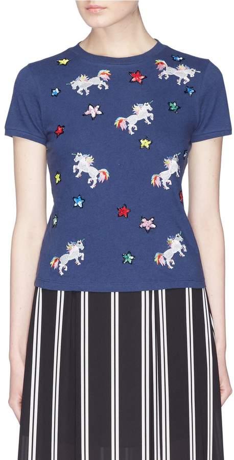 Alice + Olivia 'Rylyn' sequin unicorn appliqué T-shirt