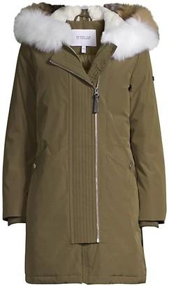 Derek Lam Nylon Fox Fur-Trim Anorak Coat
