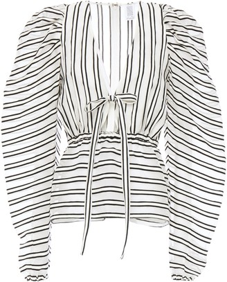 Rosie Assoulin Burnout-effect Striped Wool And Silk-blend Organza Blouse