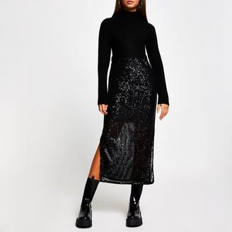 River Island Womens Black sequin jumper dress