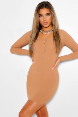 boohoo Petite Button Detail Rib Mini Dress