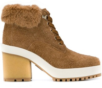 Hogan Faux Fur Ankle Boots