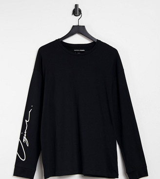 Jack and Jones Originals long sleeve t-shirt with script logo sleeves in black Exclusive at ASOS