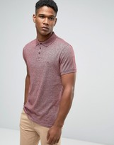Jack Wills Polo Shirt In Jersey Marl In Damson