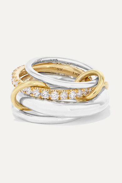 Spinelli Kilcollin Set Of Four Sterling Silver, 18-karat Gold And Diamond Rings - 6