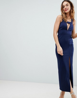 ASOS DESIGN deep plunge bodycon maxi dress with thigh split and cut out