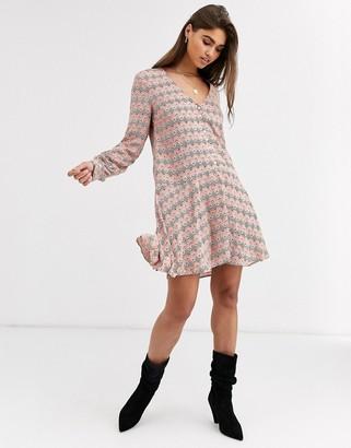 Vila printed drop hem dress-Multi