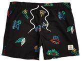 River Island Black Franklin And Marshall Print Swim Shorts