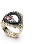 Alexis Bittar Enamel Framed Gemstone Band Ring with Removable Crystal Band