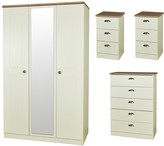 Swift Charlotte 4 Piece Ready Assembled Package - 3 Door Mirrored Wardrobe, 5 Drawer Chest and 2 Bedside Chests
