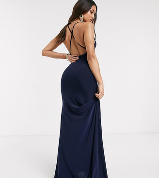 Club L Petite cross back fishtail maxi dress