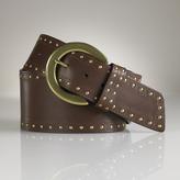 Wide Studded Leather Belt