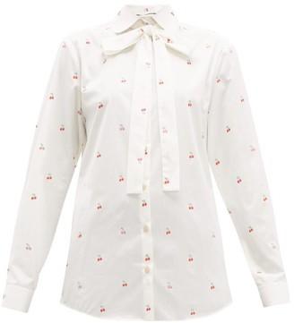 Gucci Cherry Fil-coupe Cotton Blouse - White Multi
