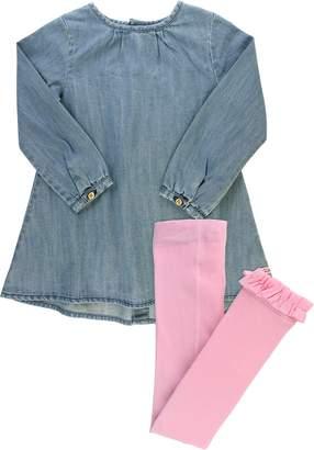 RuffleButts Long Sleeve Chambray Dress & Knit Tights Set