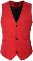 uxcell® Men Single Breasted Adjustable Buckle Back Slim Fit Vest S