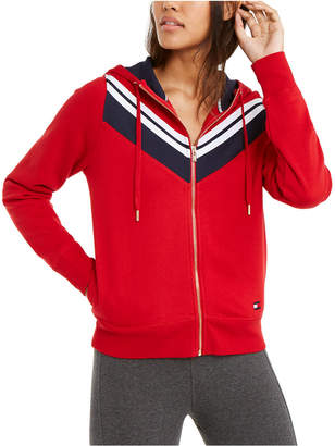Tommy Hilfiger Chevron-Striped Zippered Hoodie