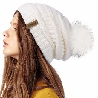 FURTALK Womens Winter Knit Slouchy Beanie Hat Warm Skull Ski Cap Faux Fur Pom Pom Hats for Women - grey - One Size